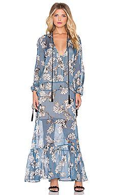 For Love & Lemons Santa Rosa Maxi Dress in Vintage Blue Floral