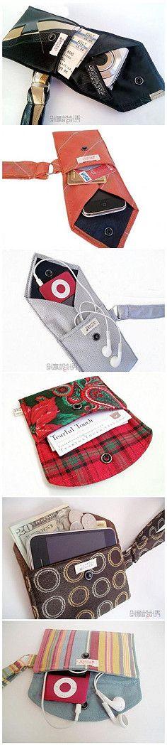 【旧领带做成的包包们】纯手工缝制的它们… BOLSAS HECHAS DE CORBATAS USADAS