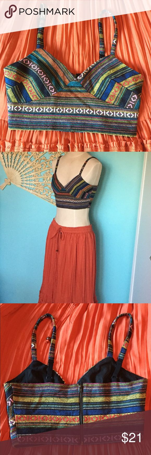Hippie Woven Boho festival top Southwest bralette So Bohemian and so beautiful! This listing for top: Lots of colors woven in a beautiful design. Zipper up the back. Size medium. I feel more of a small fit. (Not a lot of stretch around the rib area.) Love this with the orange maxi skirt I have also listed. Your Vacation, Honeymoon, Beach day or Festival outfit is all ready to go! I also have a long turquoise necklace and a vintage sun necklace that would look perfect with this! Forever 21…