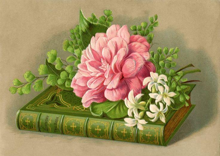 Открытка с днем рождения книга и цветы