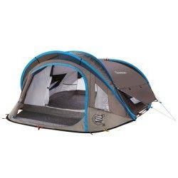 All Tents Camping - 2 Seconds XL Air III pop up tent - 3 Man, Grey/Blue QUECHUA - Tents