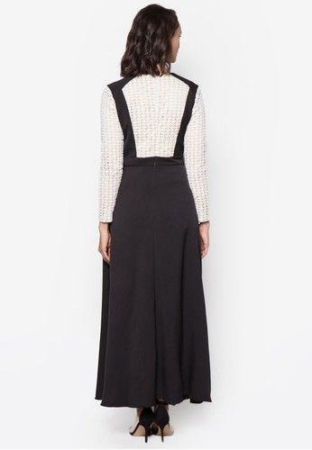 Crochet Lace Blocked Dress from Zalia in black_3