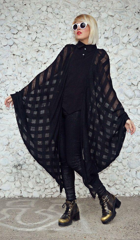 Extravagant Sheer Black Blouse / Funky Loose Winter Blouse / Black Wing Blouse / Sheer Loose Blouse / Black Extravagant Top TT106