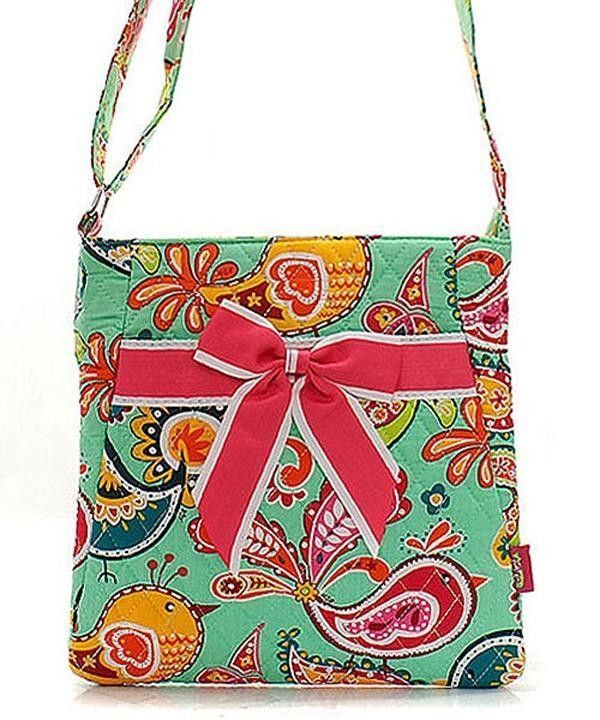 """Mint Bird Paisley Hot Pink Quilted 11"""" Crossbody Hipster Bag"""