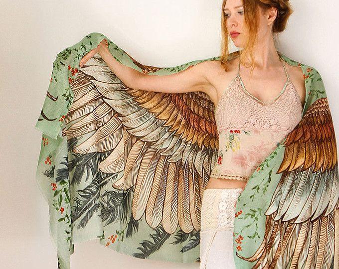 Zijden sjaal, bruiloft omslagdoek, vleugels sjaal, zomer sjaal, digitale Print Sarong, Boho Hand geschilderde Feather omslagdoek, vriendin cadeau, zijdepakking