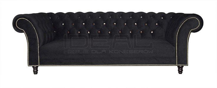 Sofa Chesterfield Kent - Ideal Meble  Przpiękna głęboko pikowana sofa w której pierwsze skrzypce graja guziki w kontrastowym kolorze. Wytworna sofa odnajdujaca się nie tylko w stylowych wnetrzach Chesterfield Sofas, Armchairs, Sectionals, Sleepers   Leather, Fabric, Linen   czarna, black