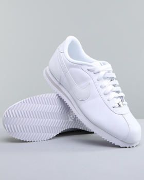 nike cortez basic leather sneakers. Fresh all white on white! Back in Junior High and High School! Awe miss those days!