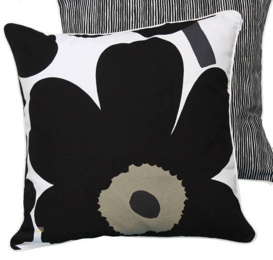 Marimekko Cushion: Black & White. Flowers