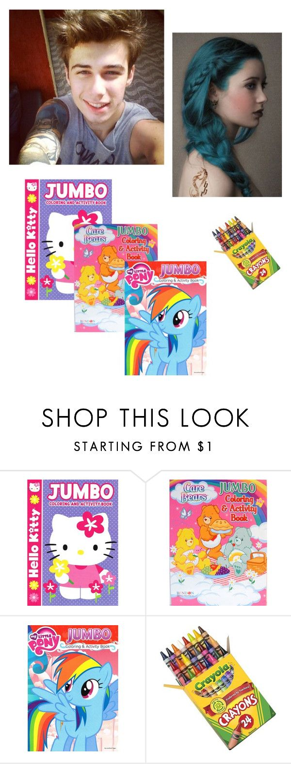 """""""*coloring with my princess Lia* -Evan"""" by daddys-badgirl ❤ liked on Polyvore featuring Hello Kitty and My Little Pony"""