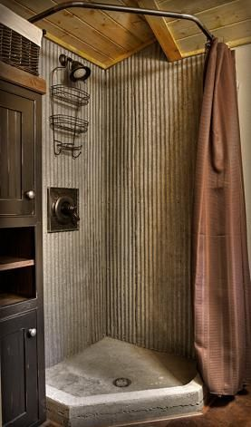 basement shower; galvanized metal and small shower pan so it'll fit in that small room.