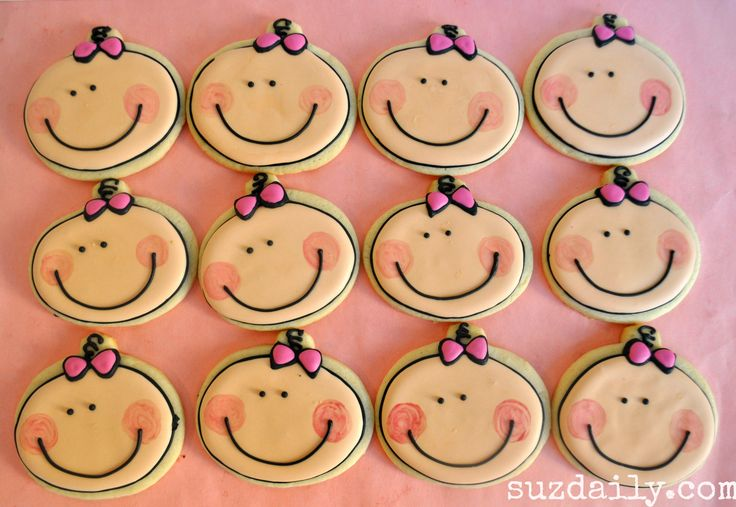 How to make a Cute Baby Girl Cookie – Great Cookie Favor for a Girl Baby Shower |