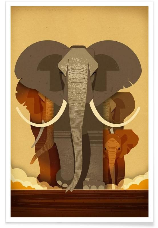 Elephants als Premium Poster