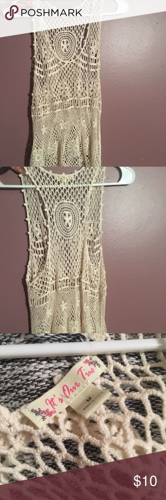 Lace see through tank so cute and fashionable top. Worn once. Goes great over a swimming suit or tank top. Love this look. it's our time Tops Tank Tops