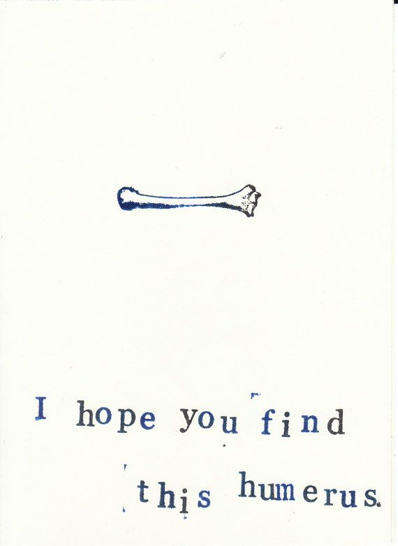 Funny Stamped Anatomy Card: A little bone dry medical humor to cheer up anyone who needs a laugh., $2.00
