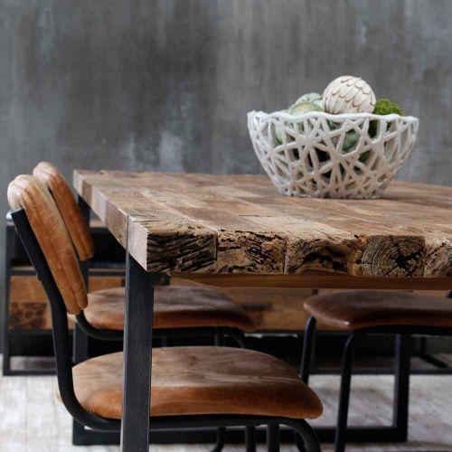Table teck et métal recyclés URBAN 220cm
