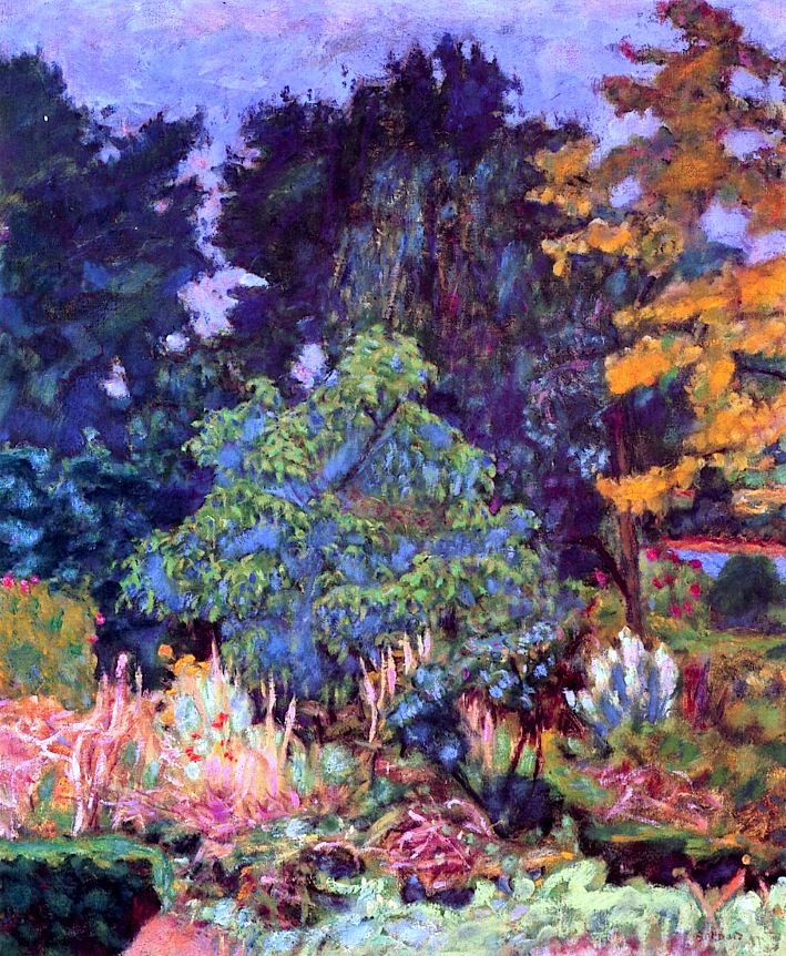 ❀ Blooming Brushwork ❀ - garden and still life flower paintings - The Garden at Vernon, Pierre Bonnard, c. 1927: