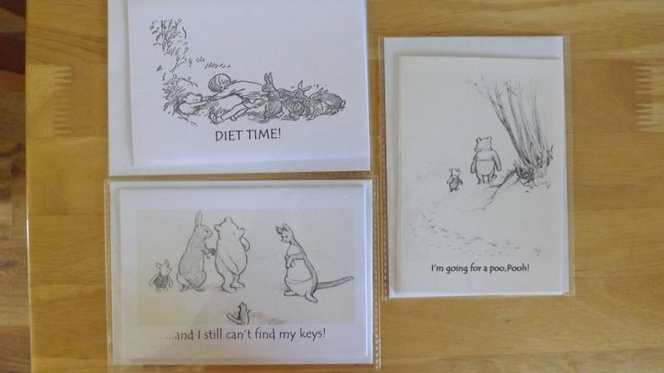 3 different handmade, artisan Pooh Blank Greetings Cards. 2.25 each. Fun cards with envelopes and protective wrapping by HeronCottageArtisan on Etsy