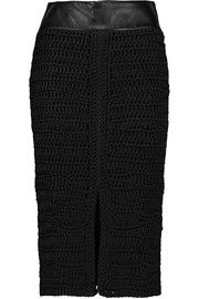 TOM FORD Leather-trimmed crocheted silk skirt
