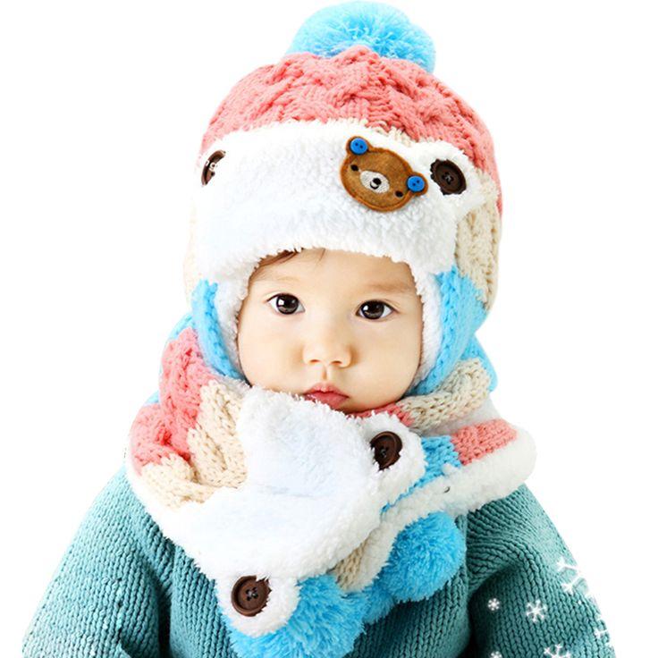Bebé Sombrero de Invierno y Bufanda Conjunto Muy Caliente de la Gorrita Tejida Infantil Cap para Niños Chicos Chicas Animal Estilo Oso Kids Crochet Chal de Punto