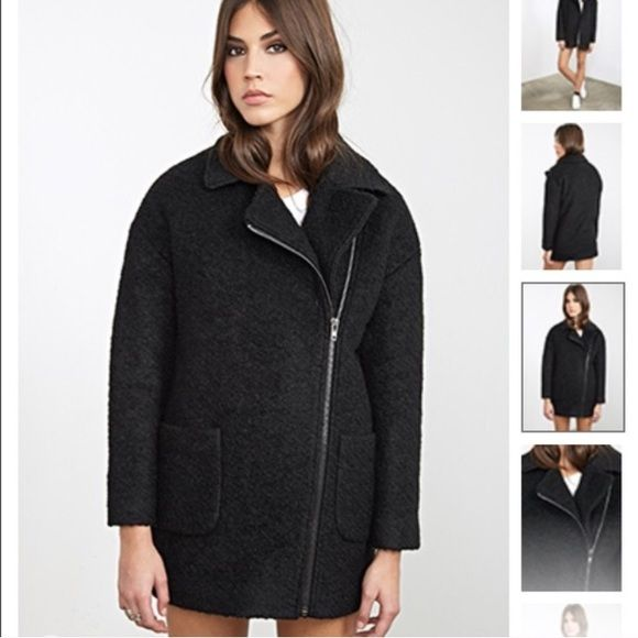 Black Shearling Coat Black Pockets Jackets & Coats