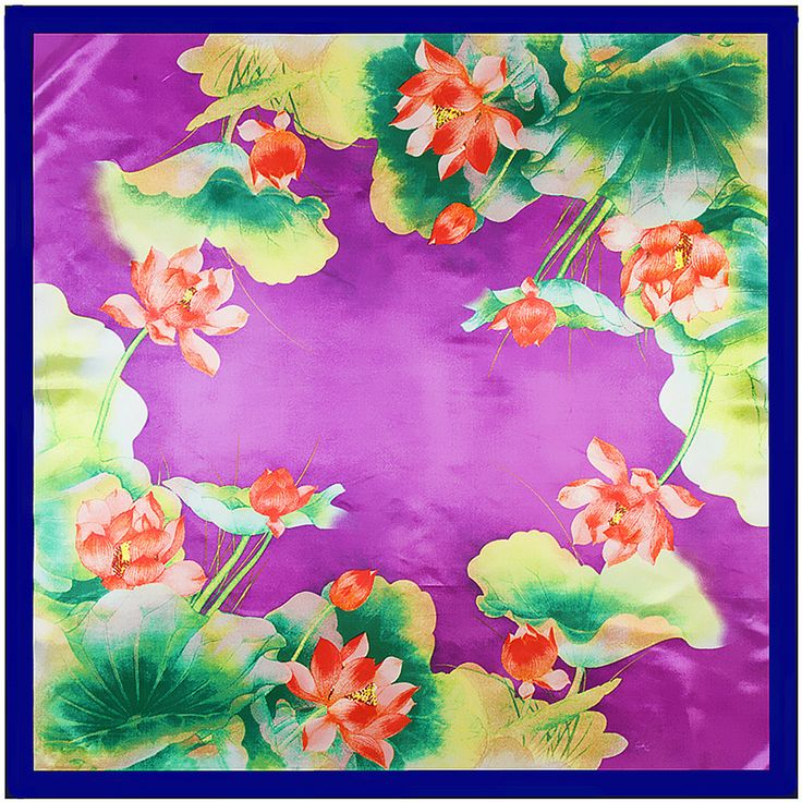 90cm*90cm 2017 New Fashion Silk Square Scarf Women Imitated Silk handkerchief Lotus Leaves  Printed Scarves Shawl