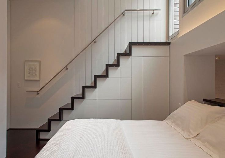 Bed Near Staircase  Light Filled Micro Loft in Manhattan By Specht Harpman
