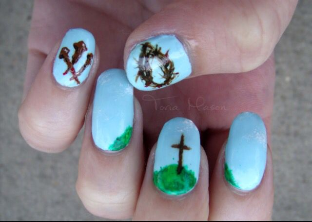 17 best nails images on pinterest cute nails pretty nails and torias treasure chest the crucifixion easter nail art prinsesfo Gallery