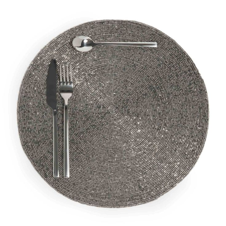 Tischset rund PERLE, D 33cm, silbern