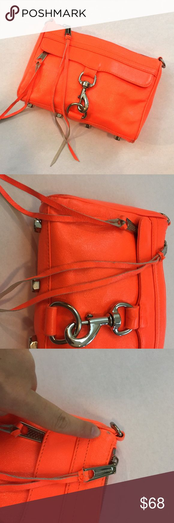 REBECCA MINKOFF Mini Mac Neon Orange Clutch Bag Great clutch by Rebecca Minkoff. Mini Mac style. *missing long strap*. Please note, there is wear on each corner and on the back of the bag. View all images carefully. Rebecca Minkoff Bags Clutches & Wristlets