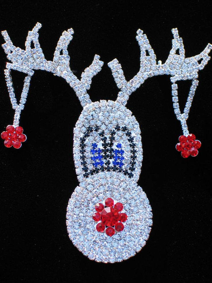 """CHRISTMAS SASSY LADY MOOSE RUDOLPH RED NOSE REINDEER PIN BROOCH 3.5"""" LRG DANGLES #Unbranded #PINBROOCHJEWELRY"""