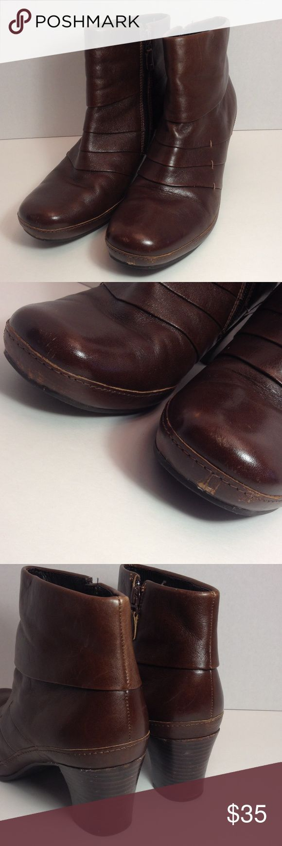 """Clark's brown leather ankle boots Worn a couple times in good condition, zip sides, brown leather with 2.5"""" heels. Please view pictures for light wear under toe area & a light scratch on one of the heels. Flaws not very noticeable when wearing. Clarks Shoes Ankle Boots & Booties"""