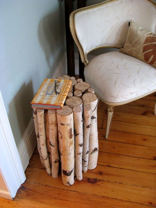 I love this, and I bet I could convince the hubster it is a good idea. Things to note: Birch is HARDwood. I cannot stress how important it is to PRE drill everything! When all else fails, Gorilla glue as well. Now, I wonder where I would find some Birch trees (not already in firewood cords!)
