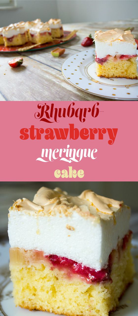 Rhubarb, strawberry and meringue cake is sweet, flavored with vanilla, packed with fruits and topped with fluffy meringue.