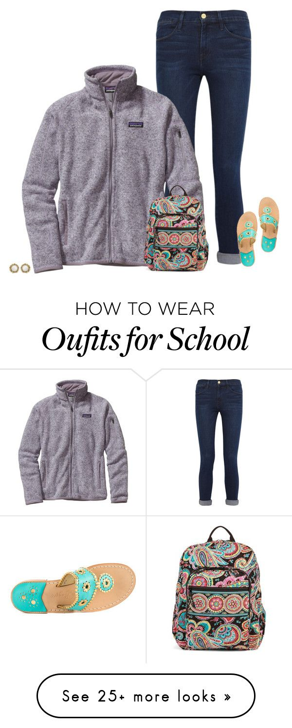 cute school outfit idea by secfashion13 on Polyvore featuring Frame Denim, Patagonia, Jack Rogers, Vera Bradley and Kendra Scott - http://amzn.to/2g1fale