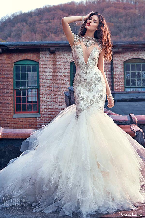 galia lahav spring 2016 bridal dresses high jeweled collar sheer long sleeves plunging v neckline beaded mermaid wedding dress felicity