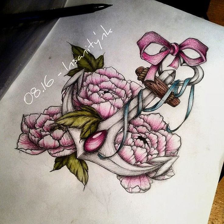 Retravaillé :) Disponible pour 30 € #draw #drawing #sketching #tattoosketch #tattoodesign #tattooflash #tattoodraw #peony #floraltattoo #pink #cute #girly #anchor #anchortattoo #ribbon #bow #lace