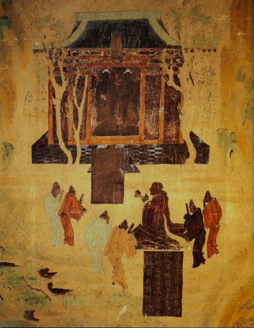 "8th century fresco at Mogao Caves near Dunhuang in Gansu Province. Depiction of the Han Emperor Wu worshiping statues of the Buddha. Attached textual description of Han Wudi worshiping golden men brought in 120 BC by a great Han general in his campaigns against the nomads:  ""汉武帝将其部—讨匈奴并得到二金长丈金—之—甘泉宫帝———常行拜—时"" ""Emperor Han Wudi directed his troops to fight the XiongNu and obtained two large golden statues that he displayed in the Ganquan Palace and regularly worshipped."""