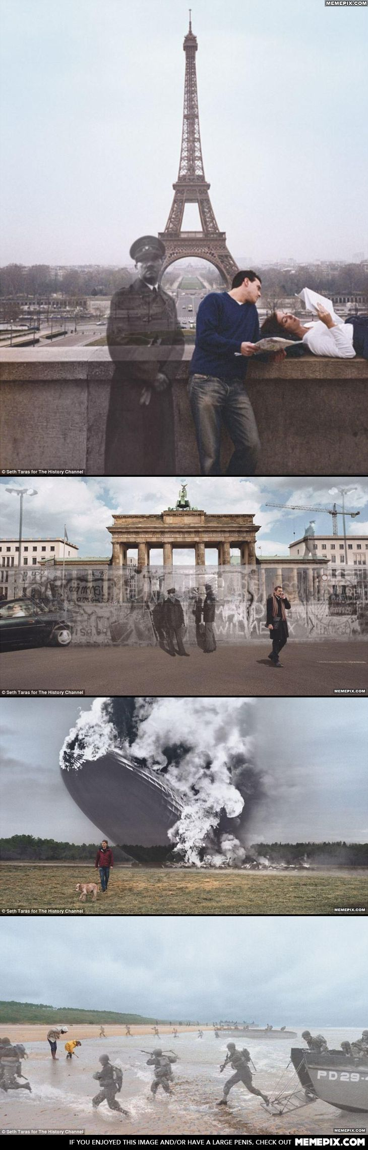 Then and now photos. I'd be afraid if I turned around and saw Hitler's ghost in my Eiffel Tower picture