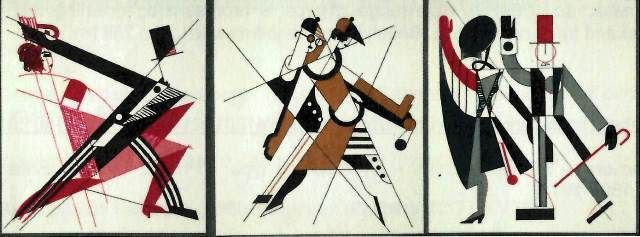"Russian avant-garde Ballet. Costume designs Kharkiv, 1929. ""These sketches exemplify the Constructivist approach to costume design, reducing the human form to basic geometrical shapes and emphasising the machine-like qualities of the human body and its movements"""