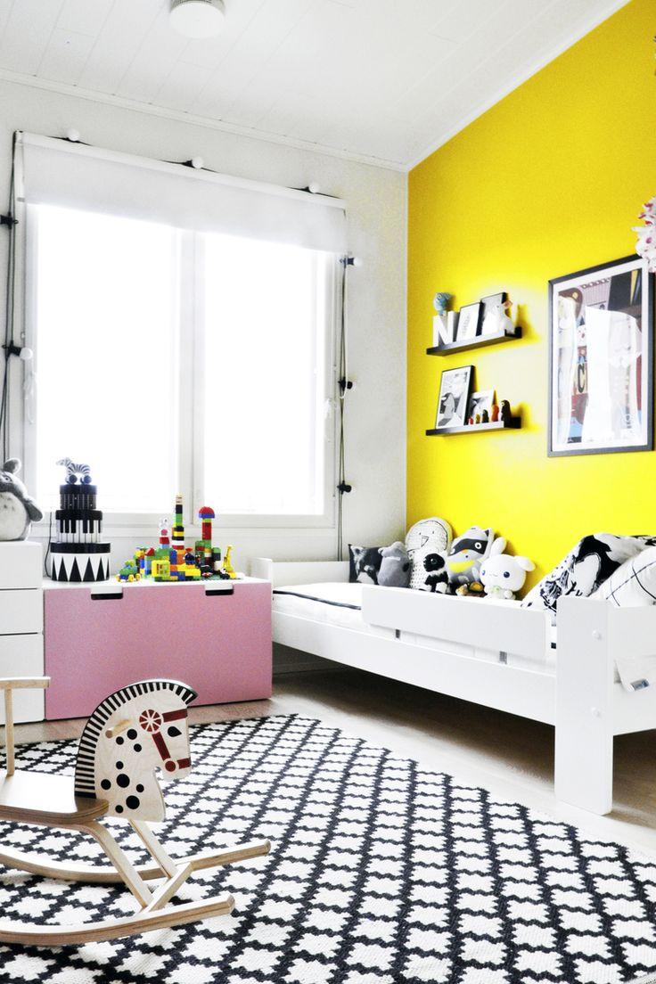 black, white, and yellow, pink kids room