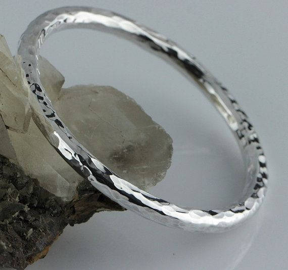 "LJ Jewellery - 6mm Round (Golf) 925 Silver Hammered Bangle - 67mm (2.63"")"