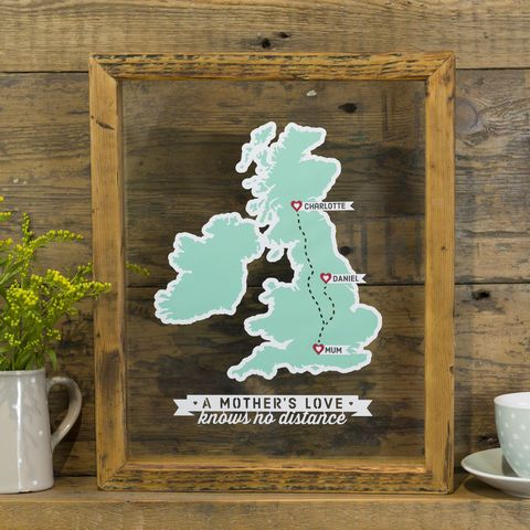 Mother's Love Personalised Map Papercut