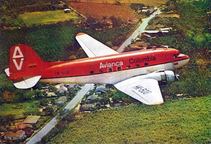 Avianca Colombia airlines Douglas DC-3 postcard