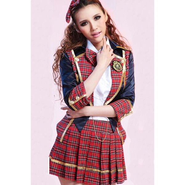 red cute sexy uniform school girl costume 42 liked on polyvore featuring costumes - Cute Halloween Costumes For School