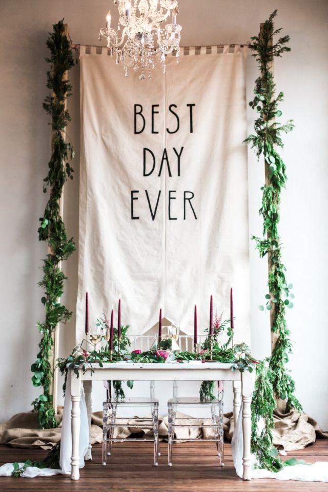 best day ever wedding reception backdrop