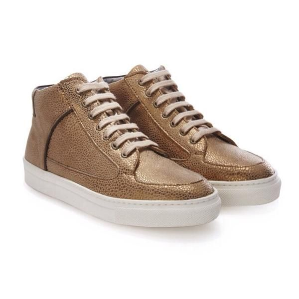 Rose Rankin Bronze Trainers : These 'Simmy' mid-top trainers are made from metallic Bronze Dot leather with khaki suede pull tab and side piping.