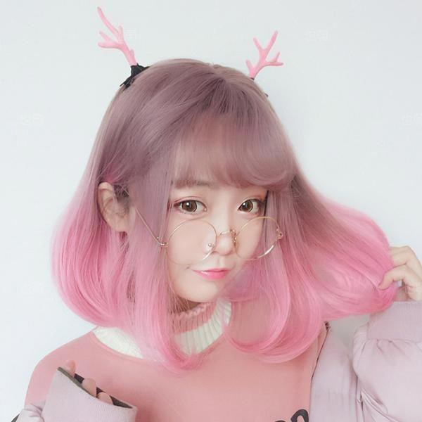 Harajuku Lolita Pink Gradient Air Bangs Wig – juwas.com online store #coralomb…