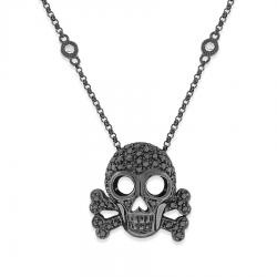 Badass!! Skull necklace by @kcdesignsnyc: Crossbones Pendant, Skull Necklace, Black Diamonds