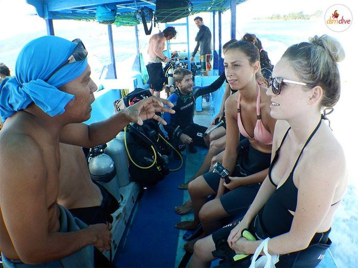 Briefing for a fun dive around the Gili Islands