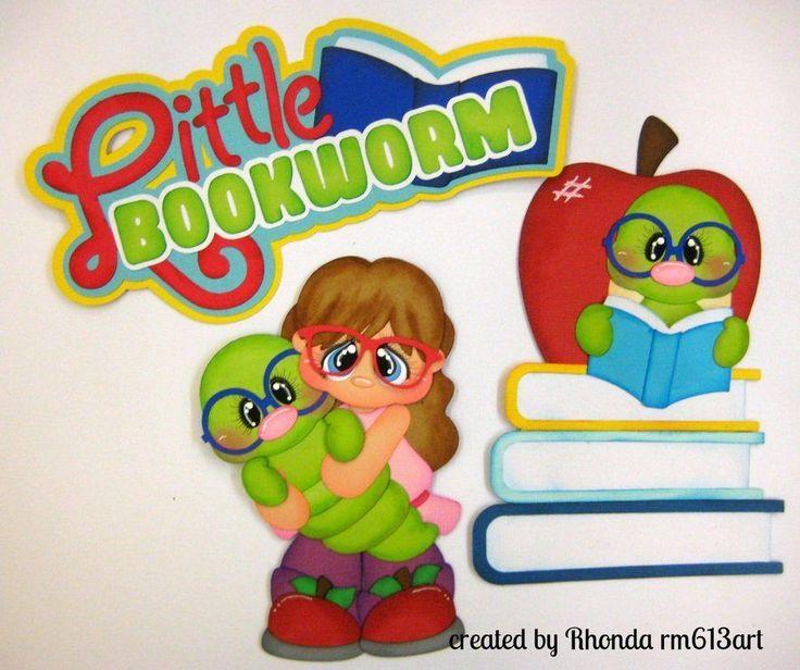 Bookworm girl School paper piecing set premade scrapbook page Rhonda rm613art